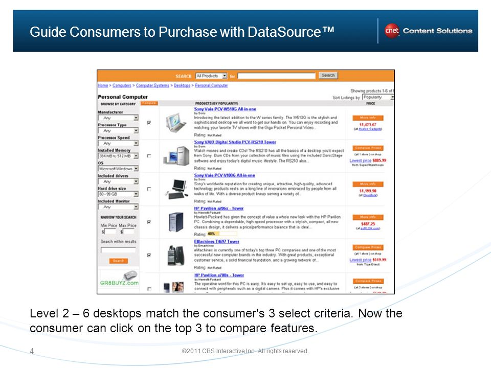 ©2011 CBS Interactive Inc. All rights reserved. 4 Guide Consumers to Purchase with DataSource Level 2 – 6 desktops match the consumer's 3 select crite