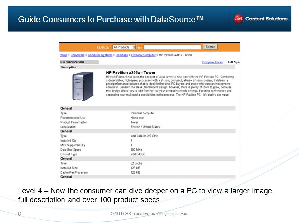 ©2011 CBS Interactive Inc. All rights reserved. 6 Guide Consumers to Purchase with DataSource Level 4 – Now the consumer can dive deeper on a PC to vi