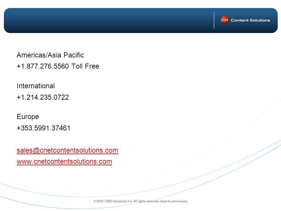 Americas/Asia Pacific Toll Free International Europe