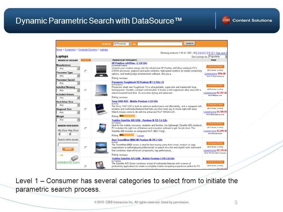 3 Dynamic Parametric Search with DataSource Level 1 – Consumer has several categories to select from to initiate the parametric search process.