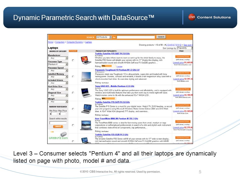 5 Dynamic Parametric Search with DataSource Level 3 – Consumer selects Pentium 4 and all their laptops are dynamically listed on page with photo, model # and data.