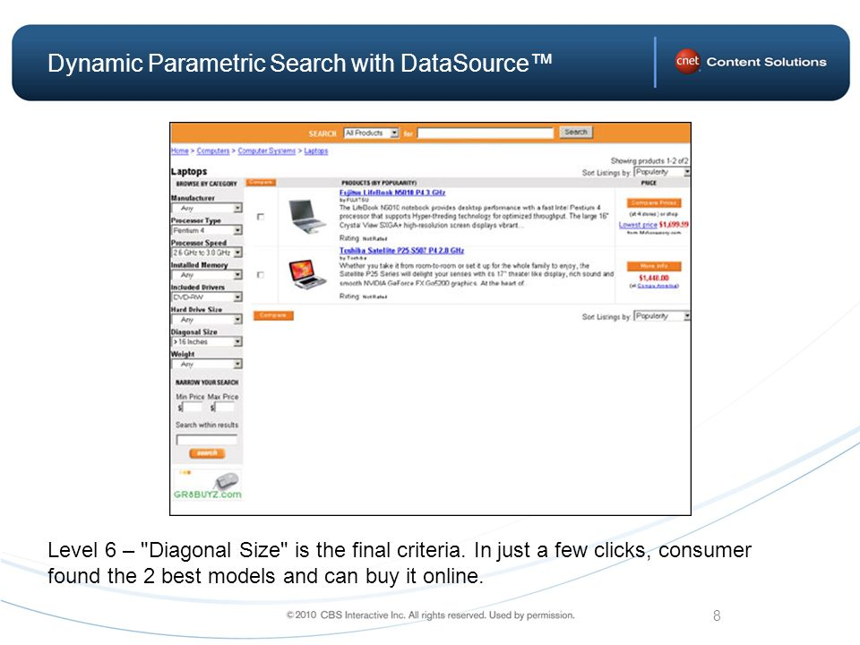 8 Dynamic Parametric Search with DataSource Level 6 – Diagonal Size is the final criteria.