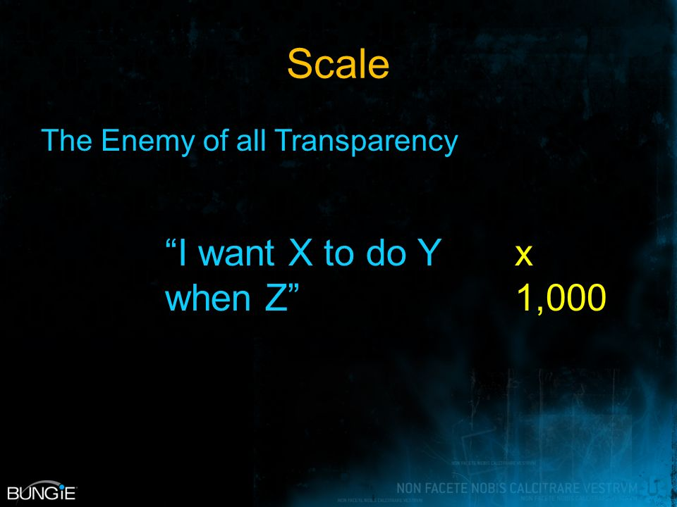 Scale The Enemy of all Transparency x 1,000 I want X to do Y when Z