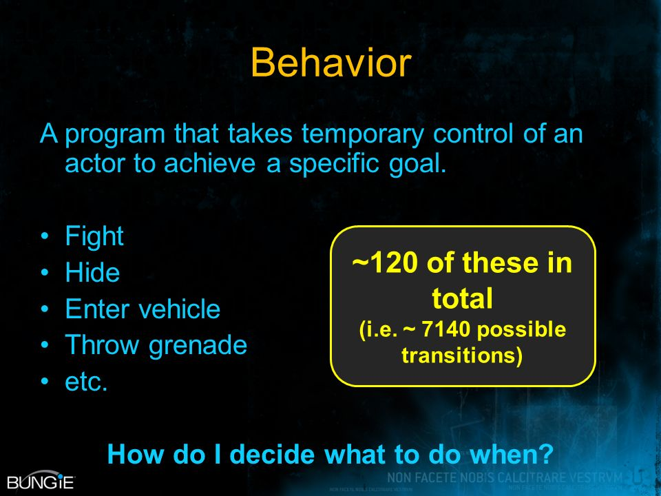 Behavior A program that takes temporary control of an actor to achieve a specific goal.