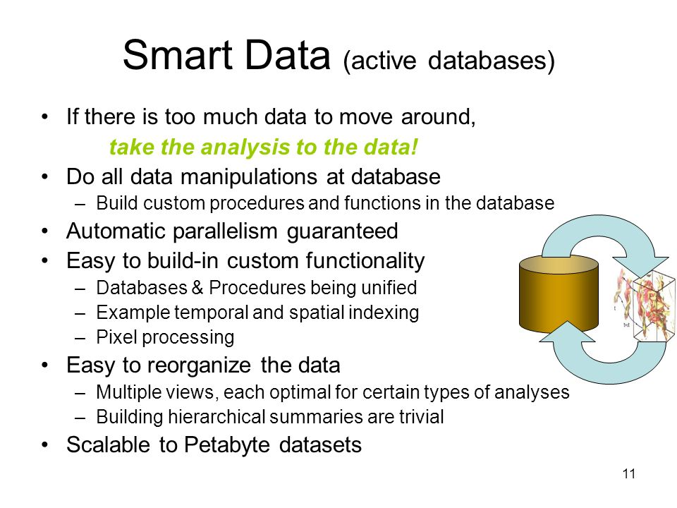 11 Smart Data (active databases) If there is too much data to move around, take the analysis to the data.