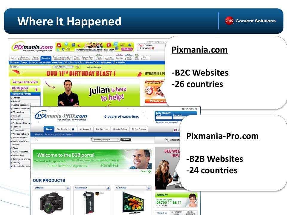 Where It Happened Pixmania.com - B2C Websites - 26 countries Pixmania.com - B2C Websites - 26 countries Pixmania-Pro.com -B2B Websites -24 countries Pixmania-Pro.com -B2B Websites -24 countries