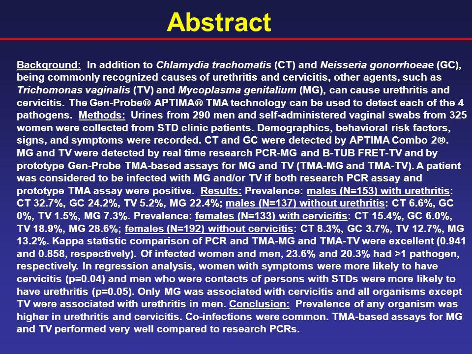 Abstract Background: In addition to Chlamydia trachomatis (CT) and Neisseria gonorrhoeae (GC), being commonly recognized causes of urethritis and cerv