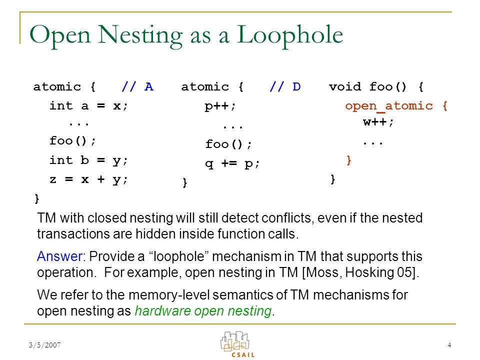 3/5/20074 Open Nesting as a Loophole atomic { // A int a = x;...