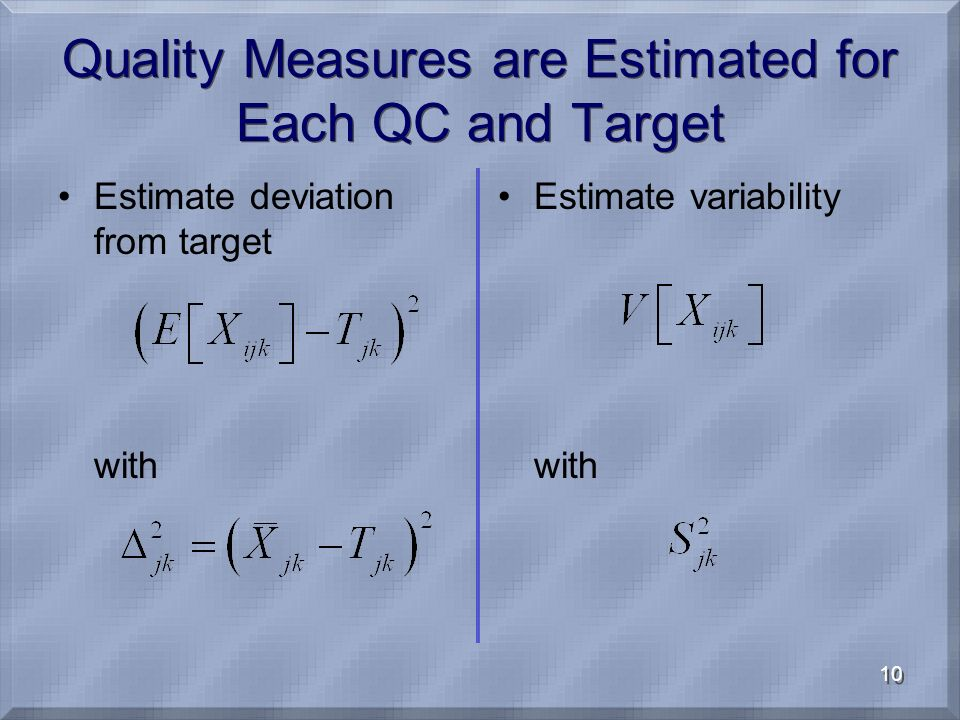10 Quality Measures are Estimated for Each QC and Target Estimate deviation from target with Estimate variability with