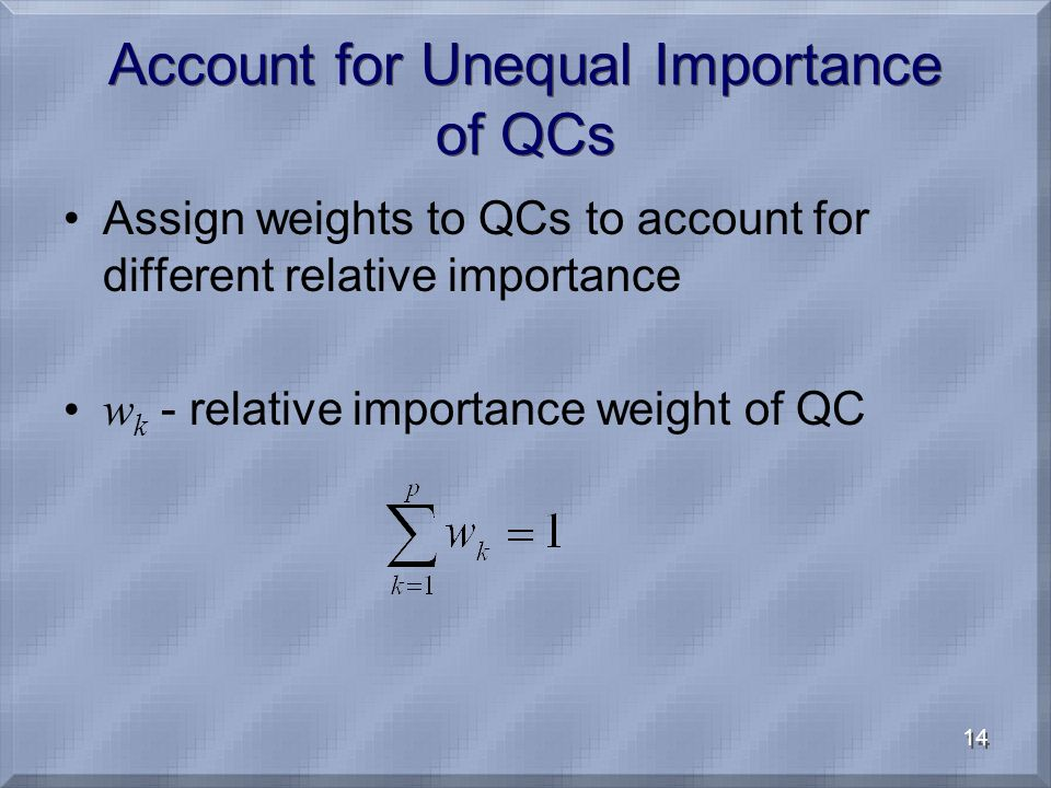 14 Account for Unequal Importance of QCs Assign weights to QCs to account for different relative importance w k - relative importance weight of QC