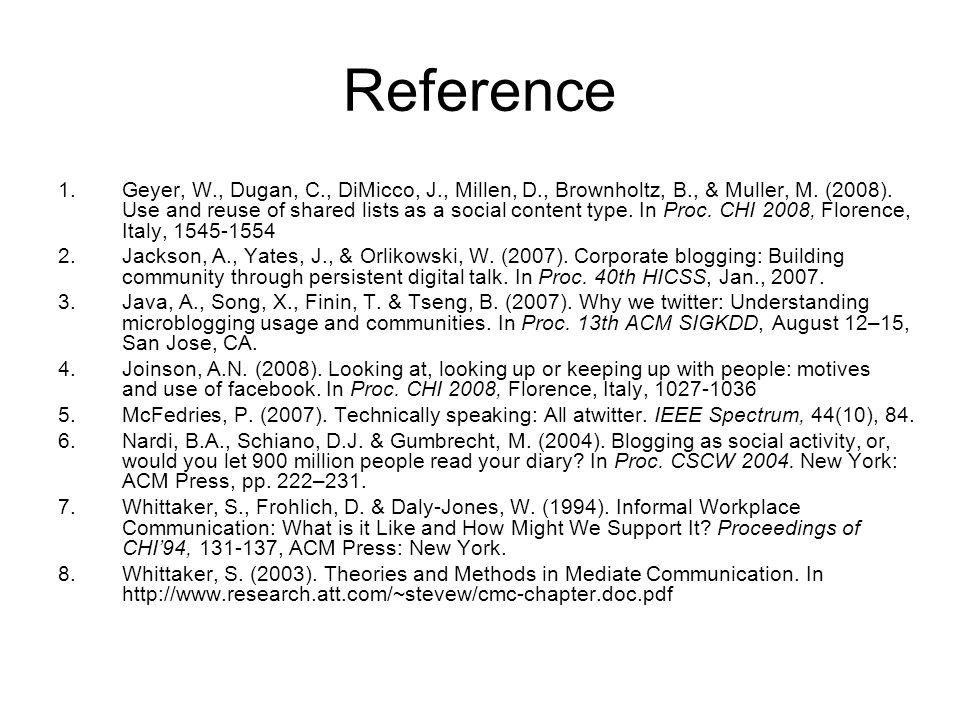 Reference 1.Geyer, W., Dugan, C., DiMicco, J., Millen, D., Brownholtz, B., & Muller, M.