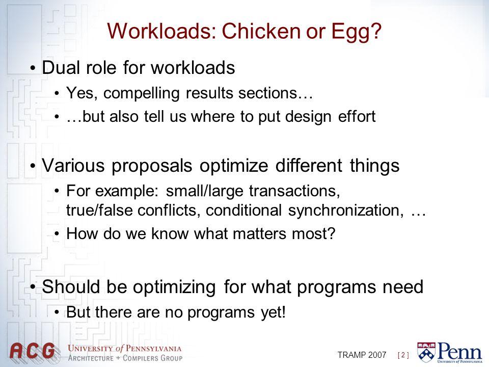 [ 2 ] TRAMP 2007 Workloads: Chicken or Egg.