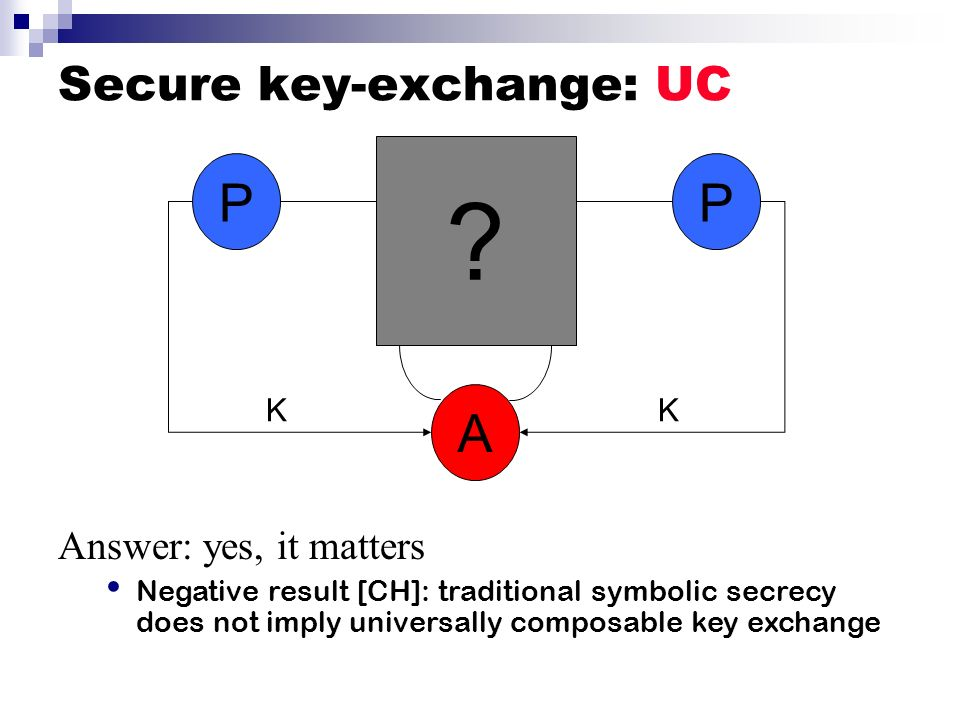 Secure key-exchange: UC ? PP A KK Answer: yes, it matters Negative result [CH]: traditional symbolic secrecy does not imply universally composable key