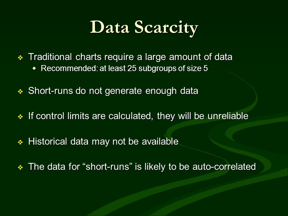 Data Scarcity Traditional charts require a large amount of data Traditional charts require a large amount of data Recommended: at least 25 subgroups o