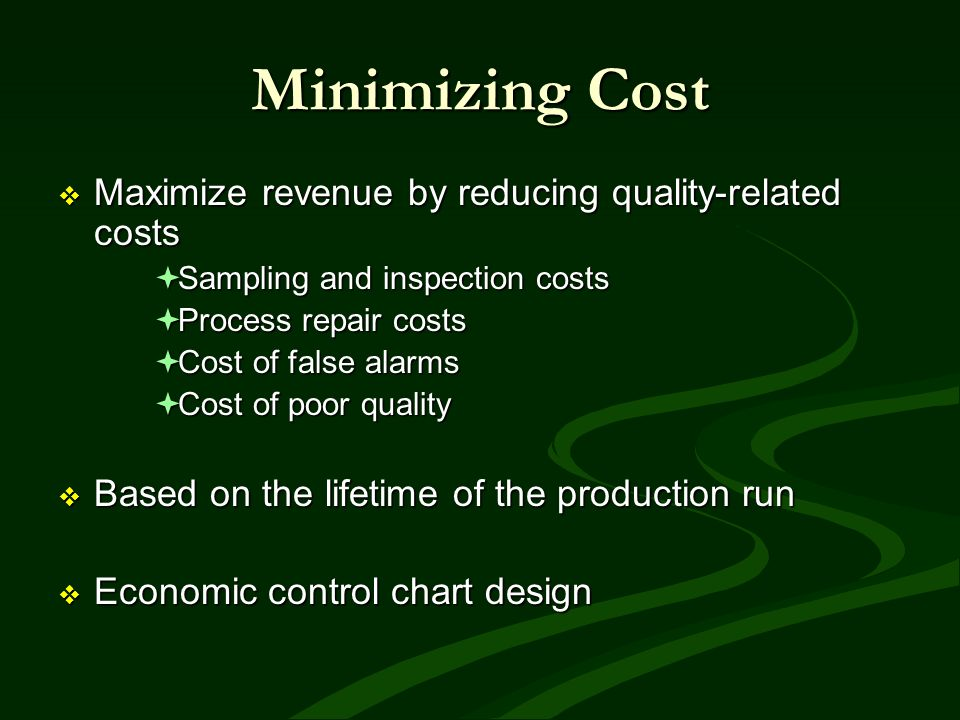 Minimizing Cost Maximize revenue by reducing quality-related costs Maximize revenue by reducing quality-related costs Sampling and inspection costs Sa