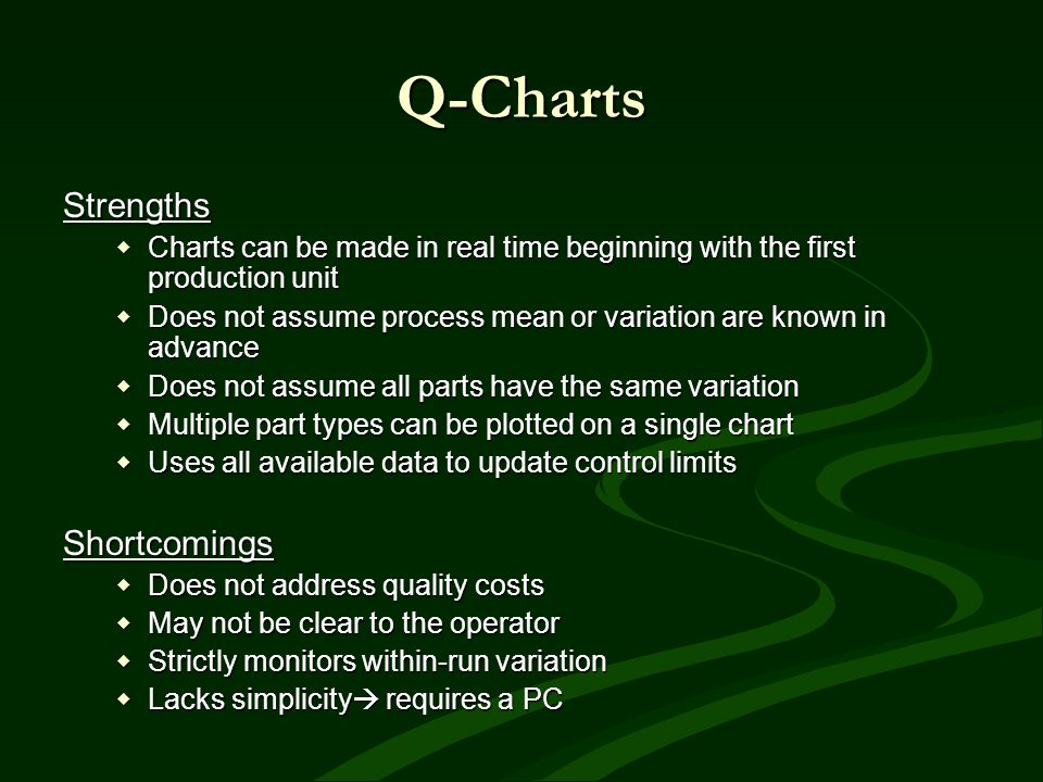 Q-Charts Strengths Charts can be made in real time beginning with the first production unit Charts can be made in real time beginning with the first p
