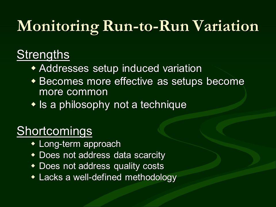 Monitoring Run-to-Run Variation Strengths Addresses setup induced variation Addresses setup induced variation Becomes more effective as setups become