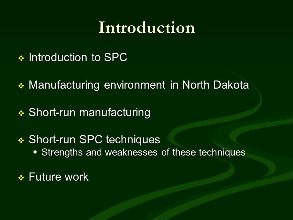 Introduction Introduction to SPC Introduction to SPC Manufacturing environment in North Dakota Manufacturing environment in North Dakota Short-run man