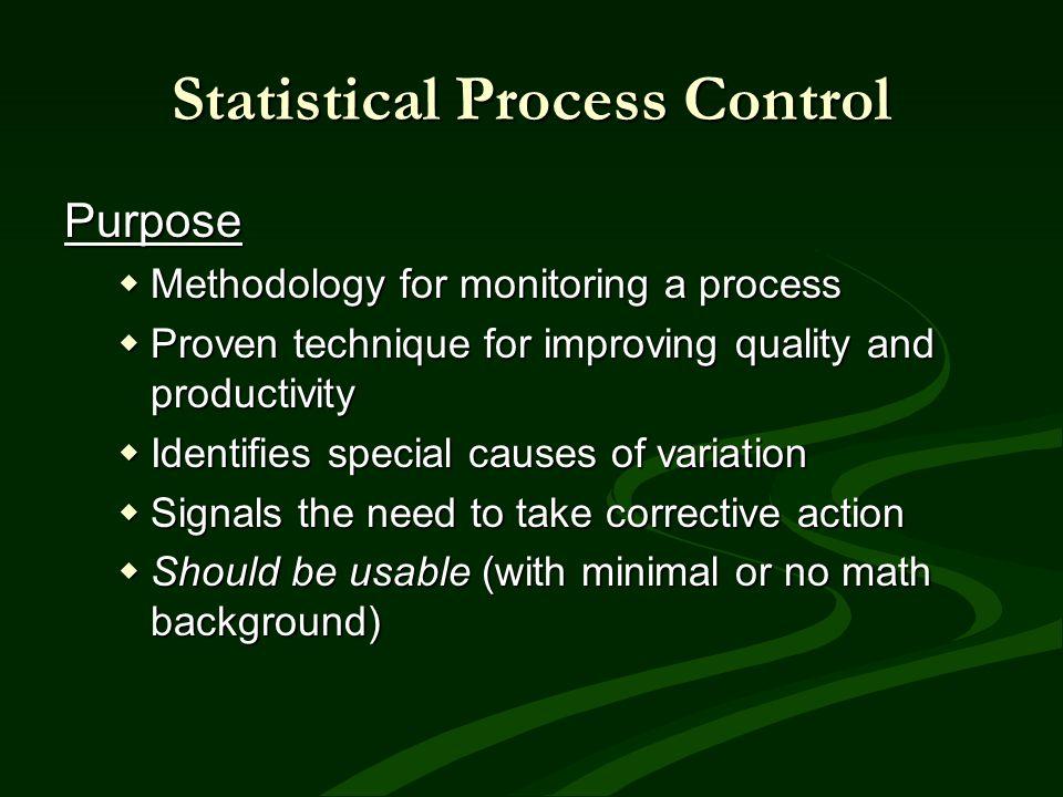 Statistical Process Control Purpose Methodology for monitoring a process Methodology for monitoring a process Proven technique for improving quality a