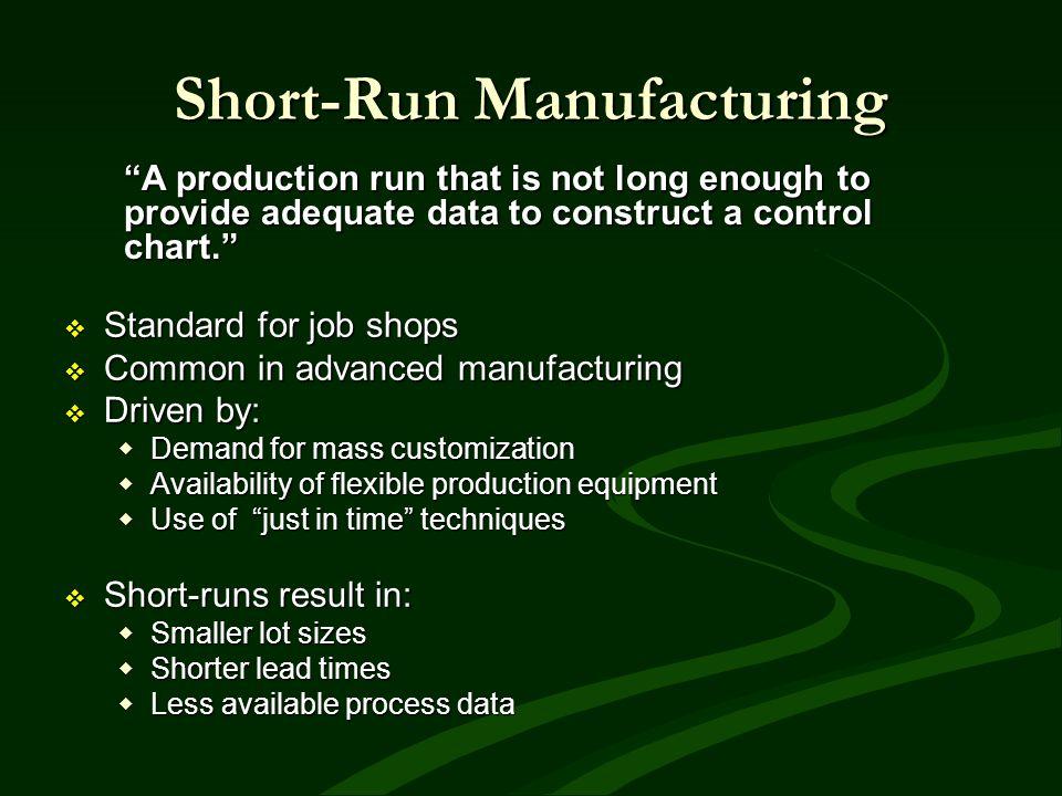 Short-Run Manufacturing Standard for job shops Standard for job shops Common in advanced manufacturing Common in advanced manufacturing Driven by: Dri