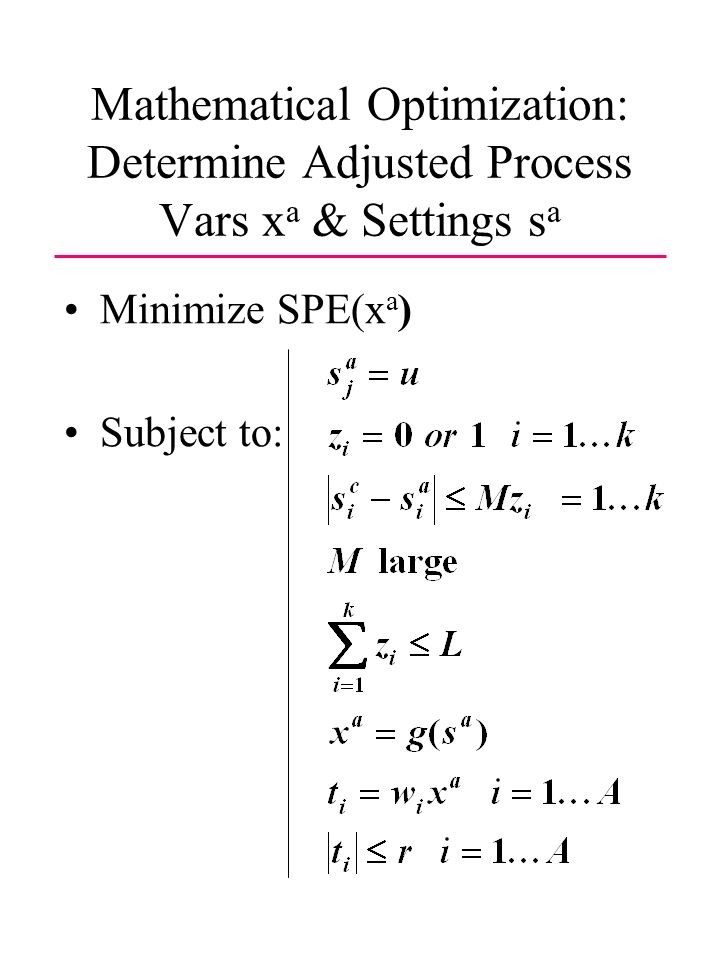 Mathematical Optimization: Determine Adjusted Process Vars x a & Settings s a Minimize SPE(x a ) Subject to:
