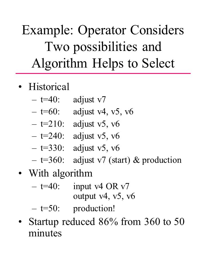 Example: Operator Considers Two possibilities and Algorithm Helps to Select Historical –t=40: adjust v7 –t=60: adjust v4, v5, v6 –t=210: adjust v5, v6 –t=240: adjust v5, v6 –t=330: adjust v5, v6 –t=360:adjust v7 (start) & production With algorithm –t=40: input v4 OR v7 output v4, v5, v6 –t=50: production.