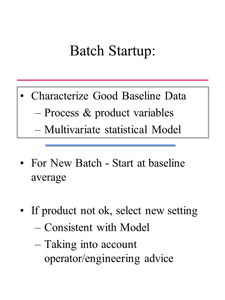 Batch Startup: Characterize Good Baseline Data –Process & product variables –Multivariate statistical Model For New Batch - Start at baseline average If product not ok, select new setting –Consistent with Model –Taking into account operator/engineering advice