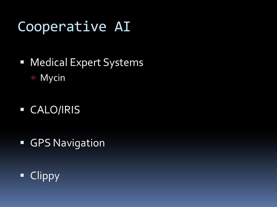 Cooperative AI Medical Expert Systems Mycin CALO/IRIS GPS Navigation Clippy