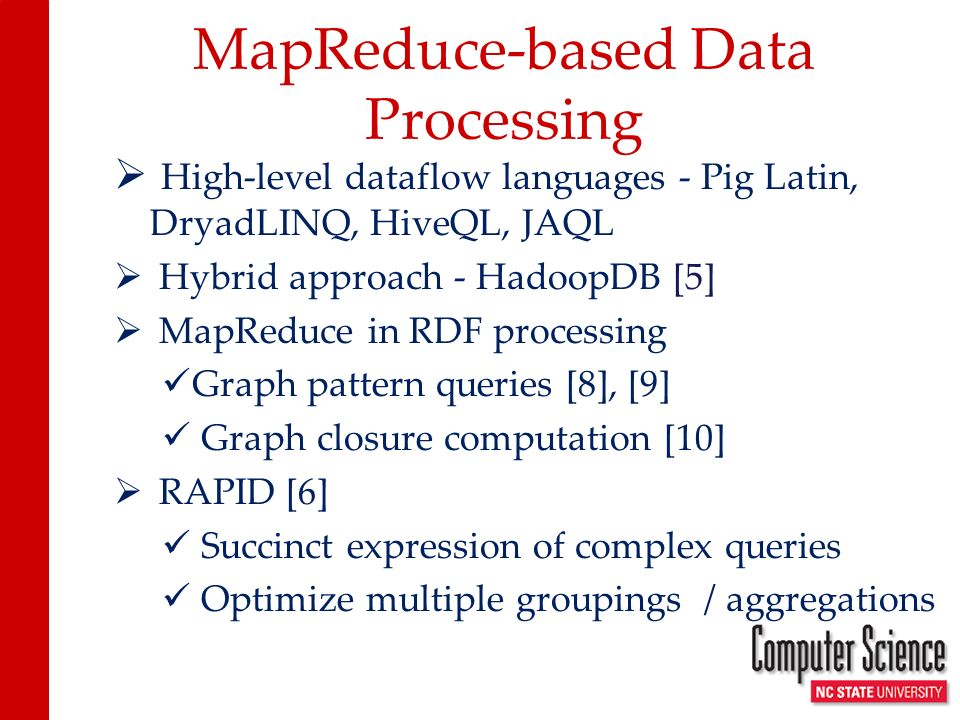 Conclusion and Ongoing work Promising results even for baseline case Further opportunities for improvement First-class operators vs UDFs Exploit combiners during aggregations More efficient data structures for processing bags Further look-ahead optimizations during multiple groupings and aggregations