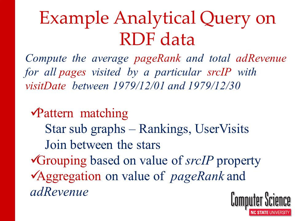 Example Analytical Query on RDF data Compute the average pageRank and total adRevenue for all pages visited by a particular srcIP with visitDate between 1979/12/01 and 1979/12/30 Pattern matching Star sub graphs – Rankings, UserVisits Join between the stars Grouping based on value of srcIP property Aggregation on value of pageRank and adRevenue