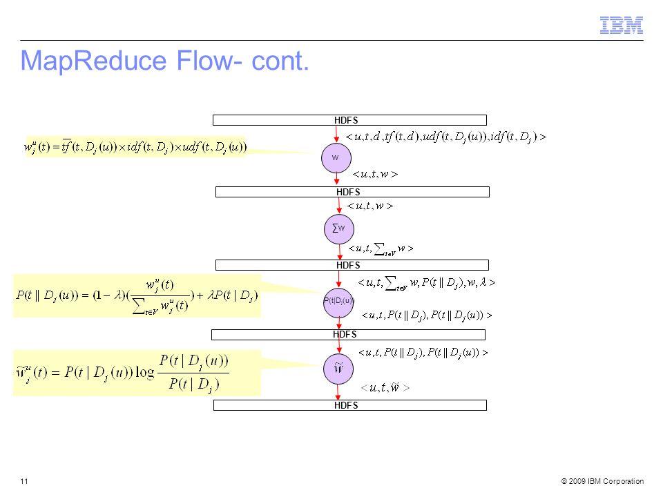 © 2009 IBM Corporation11 MapReduce Flow- cont. w HDFS P(t|D j (u)) HDFS w