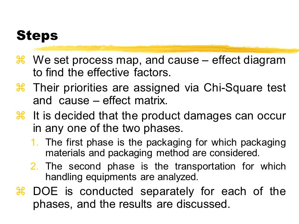 Steps zWe set process map, and cause – effect diagram to find the effective factors.