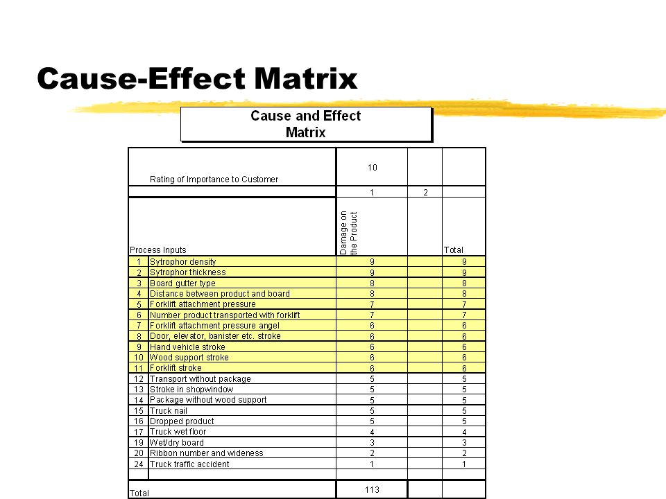 Cause-Effect Matrix