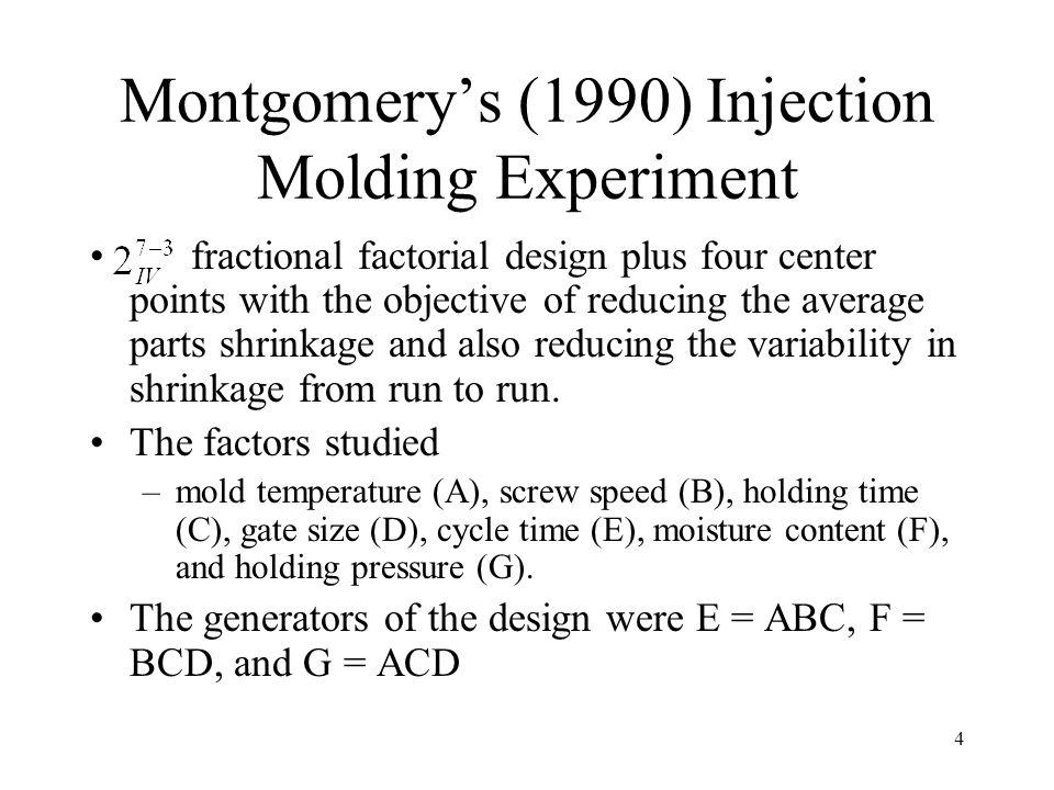 5 Injection Molding Experiment Data i j A1A1 B2B2 C3C3 D4D4 AB 5 AC 6 CG 7 AE 8 BD 9 AG 10 E 11 ABD 12 G 13 F 14 AF 15 Y 1 2 3 4 5 6 7 8 9 10 11 12 13 14 15 16 1 1 1 1 1 1 1 1 1 1 1 1 1 1 1 1 1 1 1 1 1 1 1 1 1 1 1 1 1 1 1 1 1 1 1 1 1 1 1 1 1 1 1 1 1 1 1 1 1 1 1 1 1 1 1 1 1 1 1 1 1 1 1 1 1 1 1 1 1 6 10 32 60 4 15 26 60 8 12 34 60 16 5 37 52