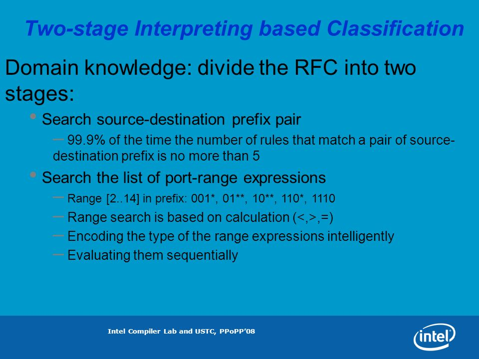 Intel Compiler Lab and USTC, PPoPP08 Two-stage Interpreting based Classification Domain knowledge: divide the RFC into two stages: Search source-destination prefix pair – 99.9% of the time the number of rules that match a pair of source- destination prefix is no more than 5 Search the list of port-range expressions – Range [2..14] in prefix: 001*, 01**, 10**, 110*, 1110 – Range search is based on calculation (,=) – Encoding the type of the range expressions intelligently – Evaluating them sequentially