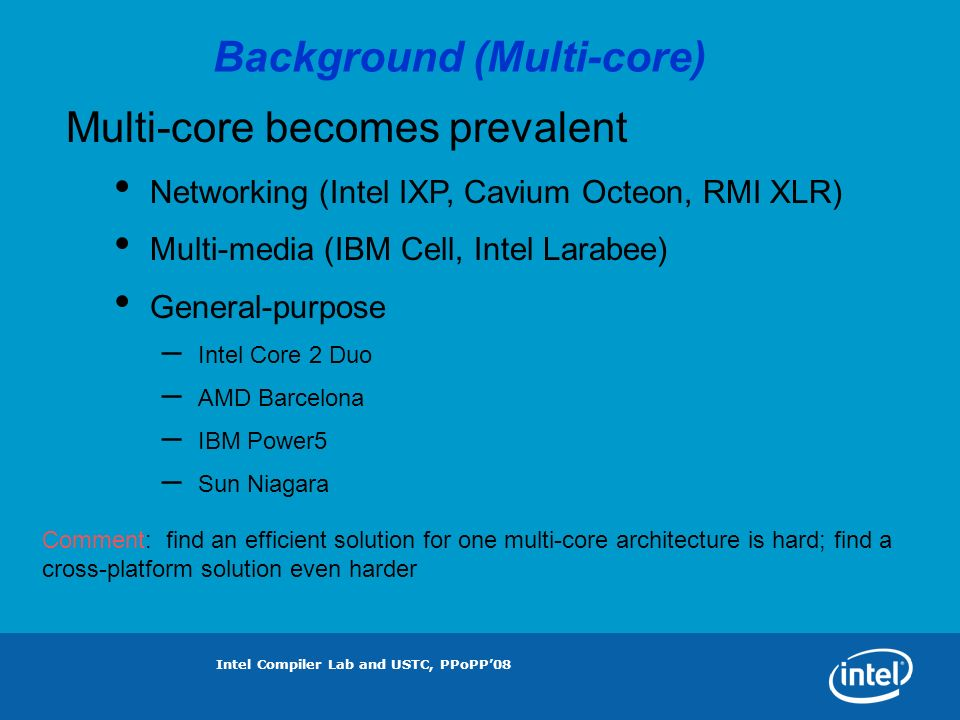 Intel Compiler Lab and USTC, PPoPP08 Block Size Impacts on IXP