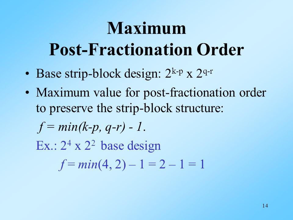 14 Maximum Post-Fractionation Order Base strip-block design: 2 k-p x 2 q-r Maximum value for post-fractionation order to preserve the strip-block structure: f = min(k-p, q-r) - 1.
