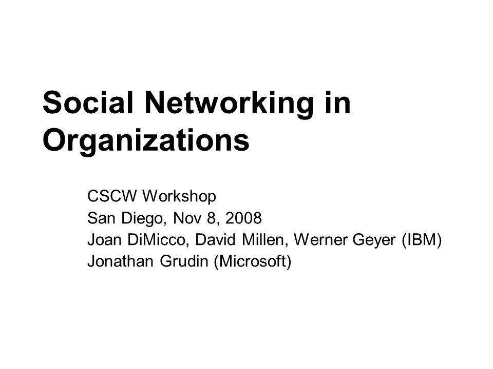 CSCW Workshop San Diego, Nov 8, 2008 Joan DiMicco, David Millen, Werner Geyer (IBM) Jonathan Grudin (Microsoft)