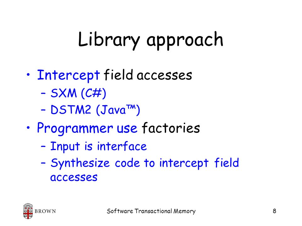 8 Software Transactional Memory Library approach Intercept field accesses –SXM (C#) –DSTM2 (Java) Programmer use factories –Input is interface –Synthe