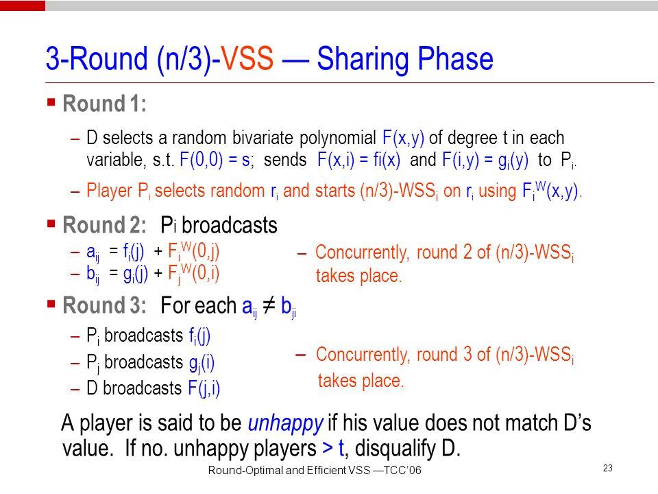 Round-Optimal and Efficient VSS TCC06 22 3-Round (n/3)-VSS Sharing Phase Round 1: –D selects a random bivariate polynomial F(x,y) of degree t in each