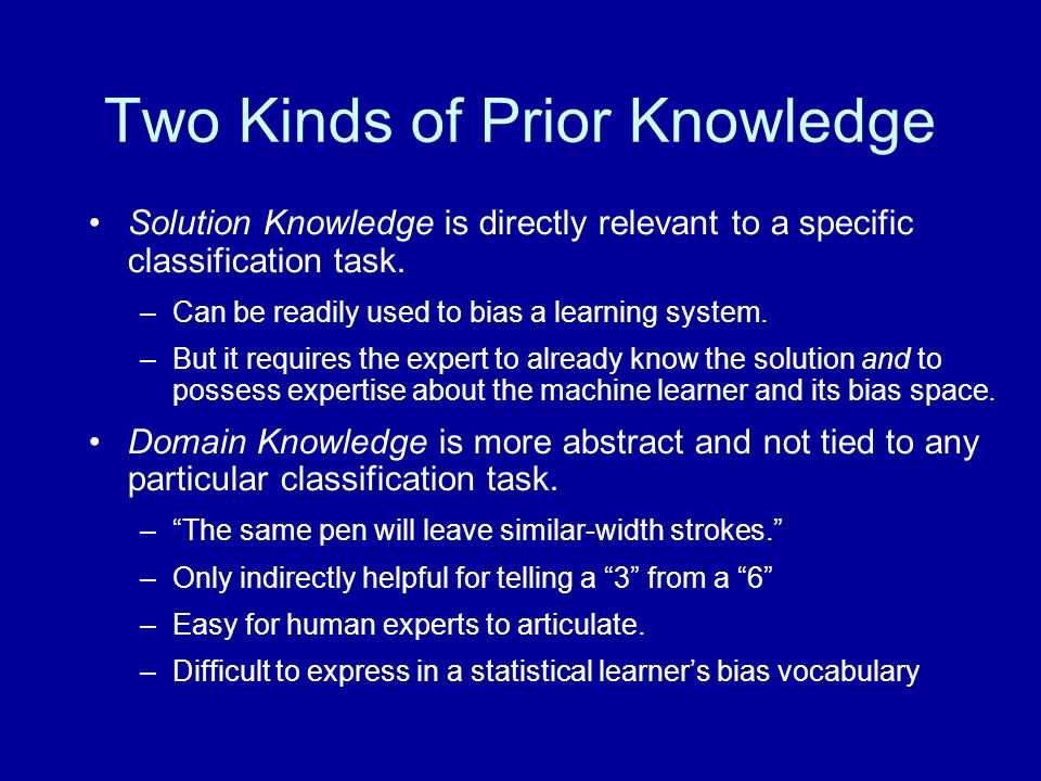 Two Kinds of Prior Knowledge Solution Knowledge is directly relevant to a specific classification task. –Can be readily used to bias a learning system