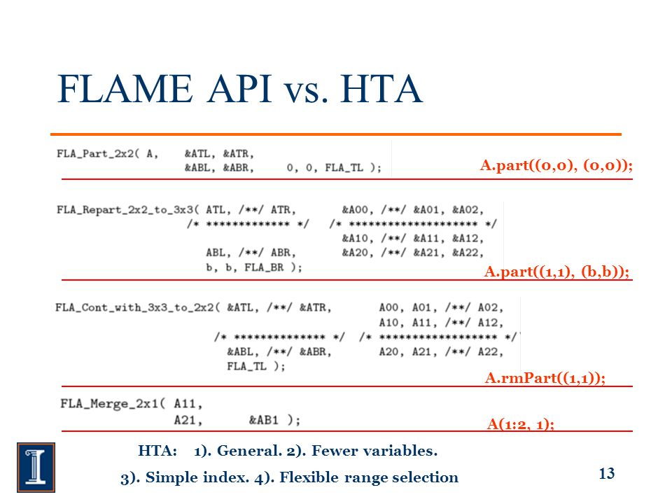 13 FLAME API vs.