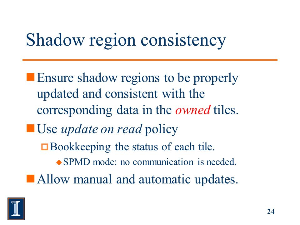 24 Shadow region consistency Ensure shadow regions to be properly updated and consistent with the corresponding data in the owned tiles.