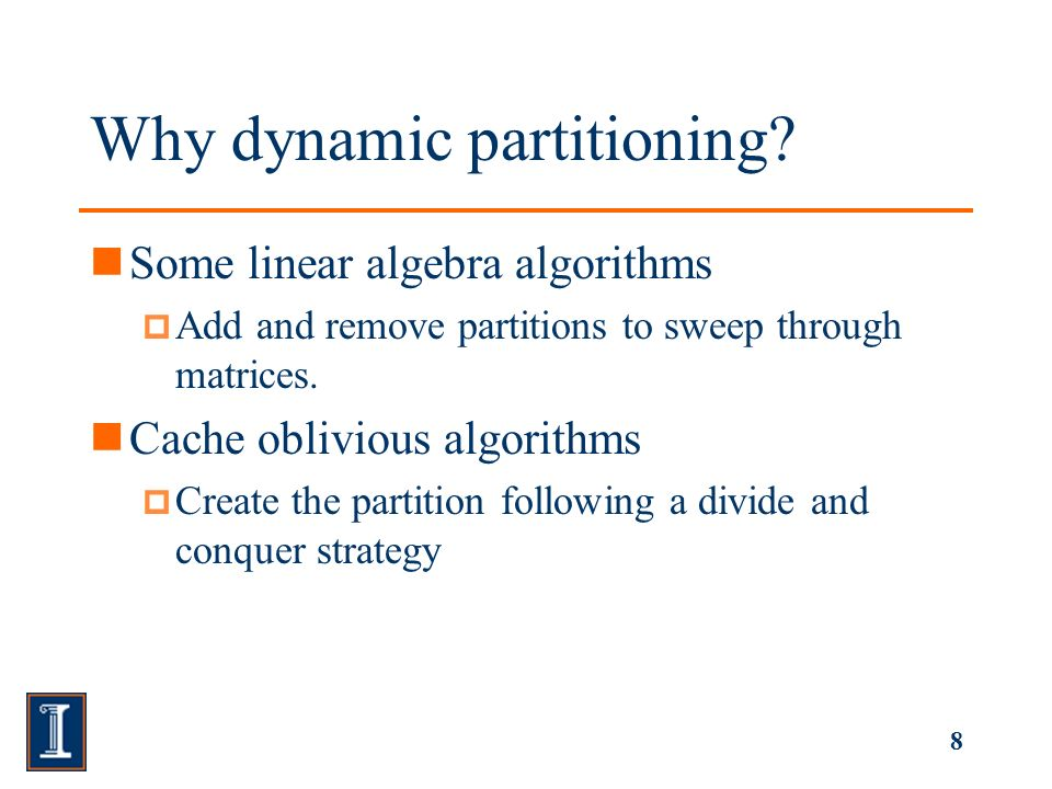 9 Syntax and semantics Partition lines and partition Two methods void part( Tuple sourcePartition, Tuple offset ); void rmPart( Tuple partition ); 0 0 1 1 2 20 0 1 1 3 3 2 20 0 2 2 1 1 AA.part((1,1),(2,2))A.rmPart((1,1)) NONE for not partitioning fixed