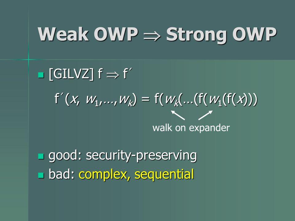 [GILVZ] f f [GILVZ] f f f (x, w 1,…,w k ) = f(w k (…(f(w 1 (f(x))) good: security-preserving good: security-preserving bad: complex, sequential bad: c