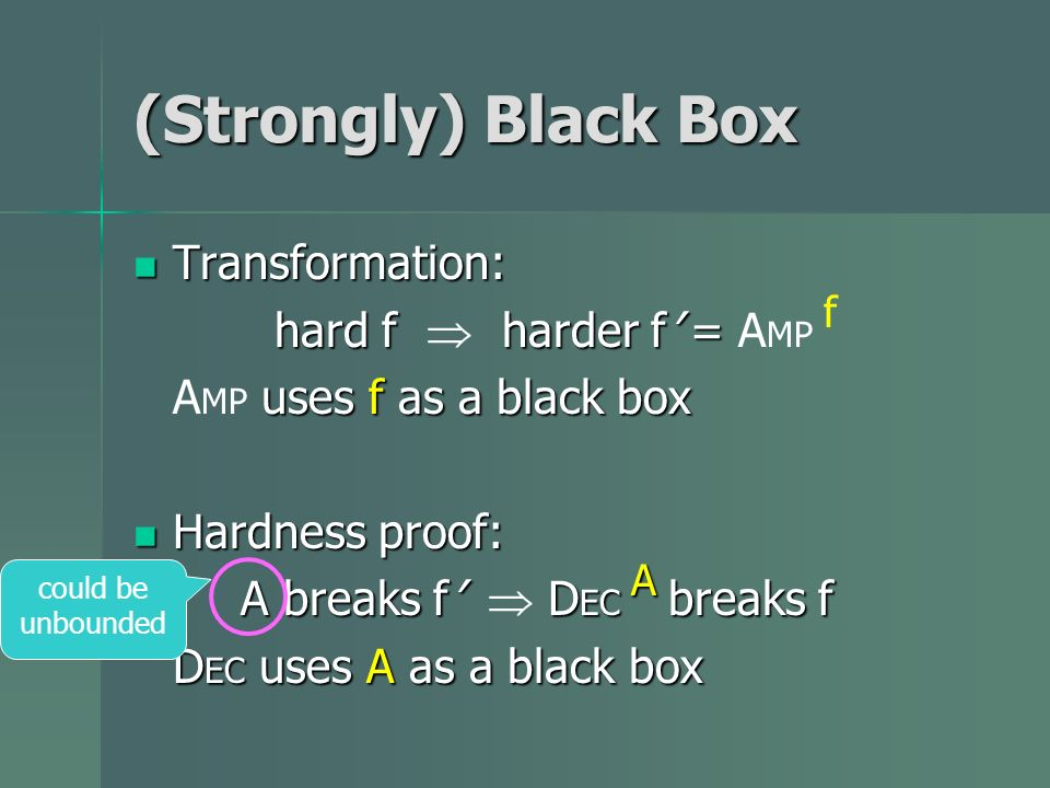 (Strongly) Black Box Transformation: Transformation: hard f harder f = hard f harder f = A MP f uses f as a black box A MP uses f as a black box Hardn