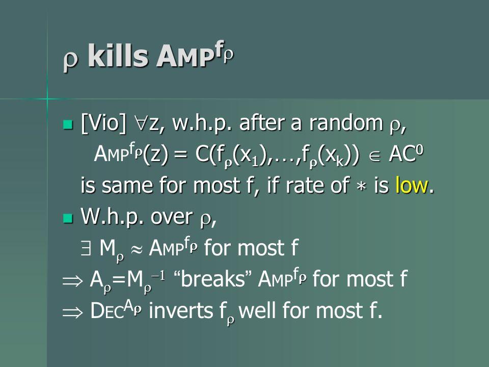 kills A MP f kills A MP f [Vio] z, w.h.p. after a random, [Vio] z, w.h.p. after a random, (z) = C(f (x 1 ), …,f (x k )) AC 0 A MP f (z) = C(f (x 1 ),