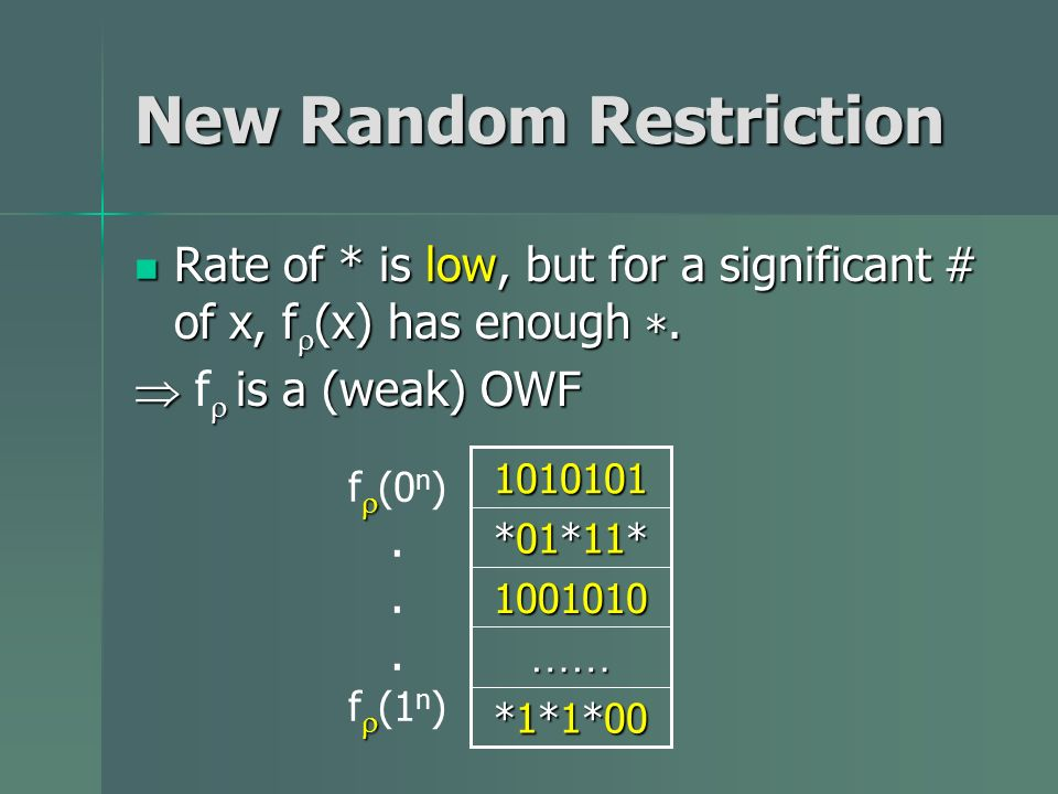 New Random Restriction Rate of * is low, but for a significant # of x, f (x) has enough *.