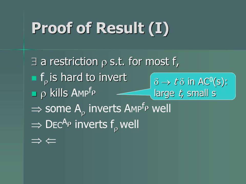 Proof of Result (I) a restriction s.t. for most f, a restriction s.t. for most f, is hard to invert f is hard to invert kills kills A MP f some A inve