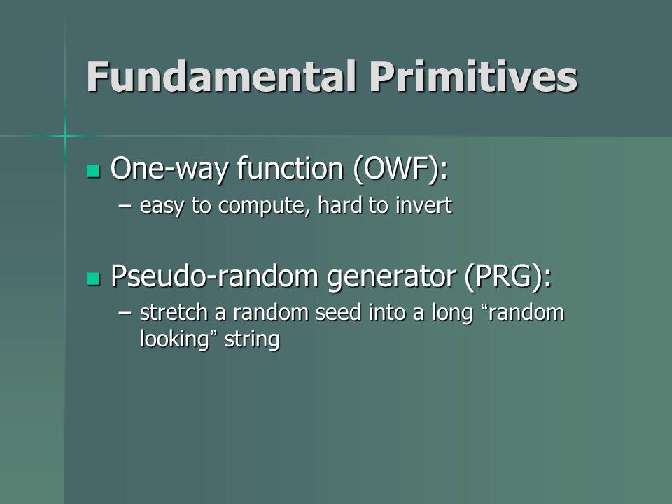 Fundamental Primitives One-way function (OWF): One-way function (OWF): –easy to compute, hard to invert Pseudo-random generator (PRG): Pseudo-random g
